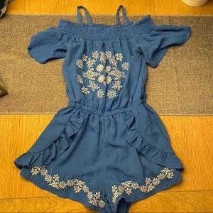 Bebe Girls blue embroidered romper M 10-12